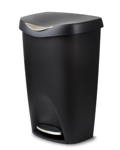 Umbra Brim 13 Gallon Trash Lid-Large Kitchen Garbage Can with Stainless Steel Foot Pedal, Stylish and Durable, Black