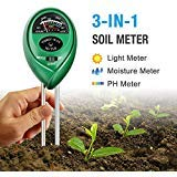DORARA Soil pH Meter, 3-in-1 Soil Tester Kits with Moisture,Light and PH Test for Garden, Farm, Lawn, Indoor & Outdoor (No Battery Needed)