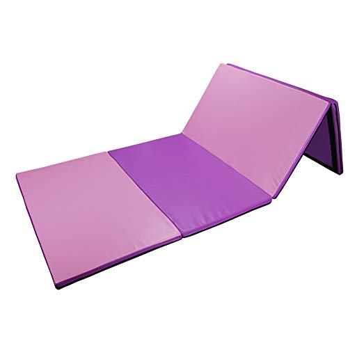 Polar Aurora 4'x8'x2 Multipe Colors Thick Folding Gymnastics Gym Exercise Aerobics Mats Stretching Fitness Yoga 10 Colors (Pink&Purple)
