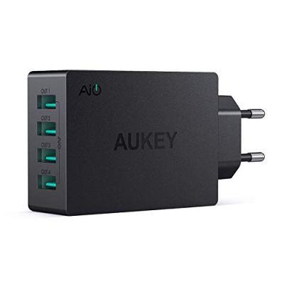 AUKEY Caricatore da Muro Portatile a 4 Porte con AiPower 40W, Caricatore USB per iPhone XS / XS Max / XR, iPad Air / Pro, Samsung, LG, HTC ecc.