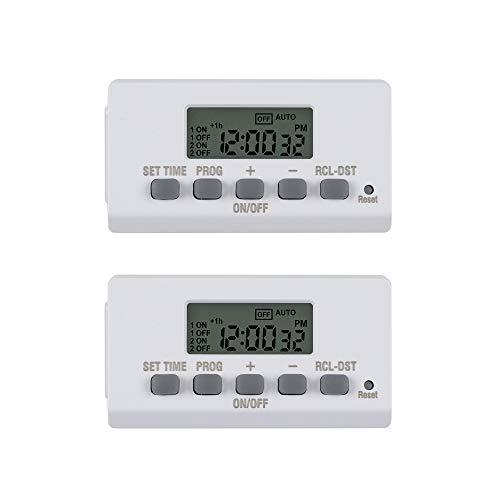 Century Mini Indoor Easy Set Stackable 24-Hour Digital Outlet Timer 2-Prong 2 On/Off Programs (2 Pack)
