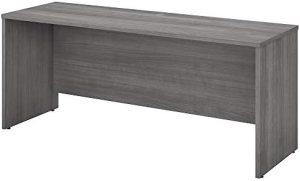 Bush Business Furniture Studio C Collection Desk/Credenza/Return, Platinum Gray