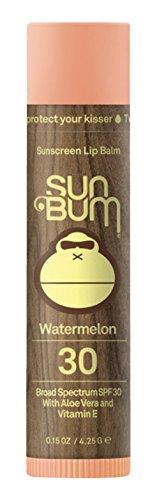 Sun Bum Watermelon Sunscreen Lip Balm, SPF 30, 0.15 oz. Stick, 1 Count, Broad Spectrum UVA/UVB Protection, Hypoallergenic, Paraben Free, Gluten Free, Vegan