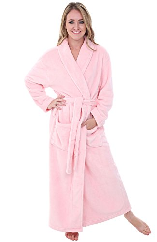 Alexander Del Rossa Womens Plush Fleece Robe, Warm Bathrobe, 1X 2X Pink Rose Quartz (A0117RSQ2X)
