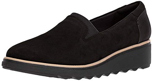 Clarks Women's Sharon Dolly Loafer, Black Suede, 9 M US