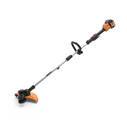 Worx WG184 40V (2.0Ah) 13' Cordless Grass Trimmer/Edger with in-Line Edging, and Command Feed, 1 hr. Dual Charger, 2 Batteries