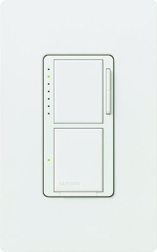 Lutron MA-L3S25HW-WH Maestro 2.5-Amp 300-watt Single Pole Dual Dimmer and Switch, White