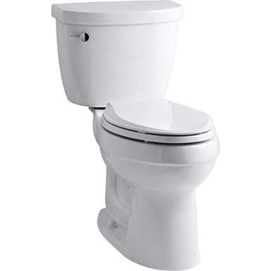 Kohler K-3589-0 Cimarron Comfort Height Elongated 1.6 gpf Toilet with AquaPiston Technology, Less Seat, White