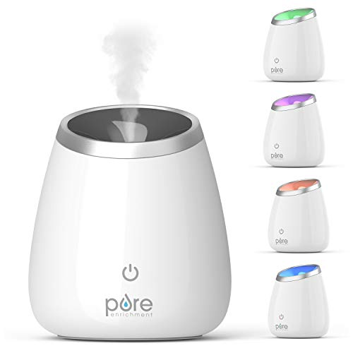 Pure Enrichment PureSpa Deluxe Ultrasonic Aromatherapy Oil Diffuser - 120ml Water Tank, Mood-Boosting Ionizer and Optional Color-Changing Light - Lasts Up to 10 Hours with Auto Safety Shut-Off