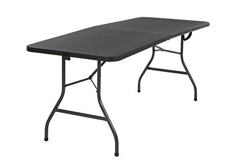 Cosco 14678BLK1 Deluxe 6 Foot x 30 inch Half Blow Molded Folding Table, Black, 72' (Rectangle),