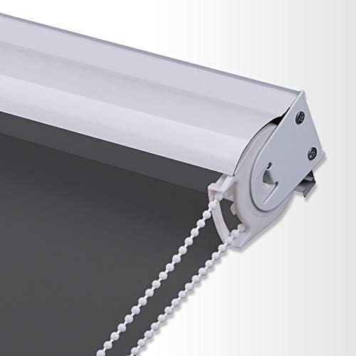 PASSENGER PIGEON Blackout Window Shades, Premium Metal Valance Thermal Insulated Fabric Custom Dark Grey Roller Blinds Shades, 71' W x 60' L