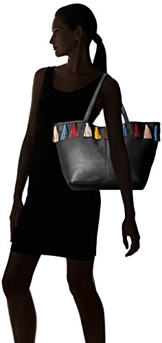 31ENdJ02v L Tote in pebbled leather featuring multicolored tassels placed around opening Flat top handles