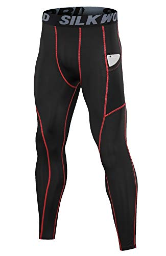 SILKWORLD Men's Compression Pants Pockets Cool Dry Sports Leggings Baselayer Running Tights 1 Fashion Online Shop Gifts for her Gifts for him womens full figure