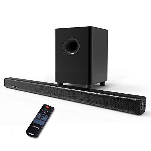 2.1 Channel Sound Bar, Wohome TV Soundbar with Subwoofers and Wireless Bluetooth(Surround Home Theater System,120W, 32 inch, 4 Speakers, 5.5' Subwoofer, 95dB, Remote Control, Model S18)