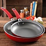 The Pioneer Woman Butterfly Vintage Speckle 2-Pack Non-Stick Frying Pan Set, Red