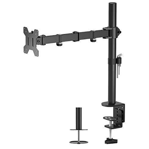 "31FGTAaBR0L - 1home Single Arm Desk Mount Ergonomic LCD LED Computer Monitor Bracket Stand Tilt Swivel Rotation 13""-32"" Screen TV | VESA Dimensions: 75x75-100x100"