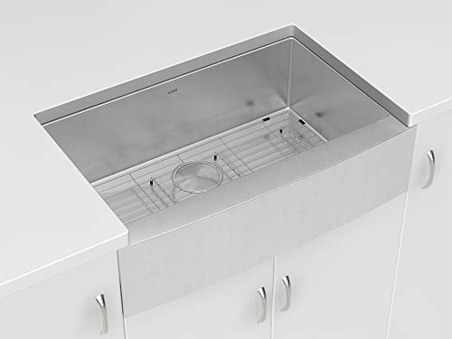 Zuhne Prato 36 Farmhouse Apron Deep Single Bowl Stainless Steel Kitchen Sink with Unique Curved Corners, 16 Guage