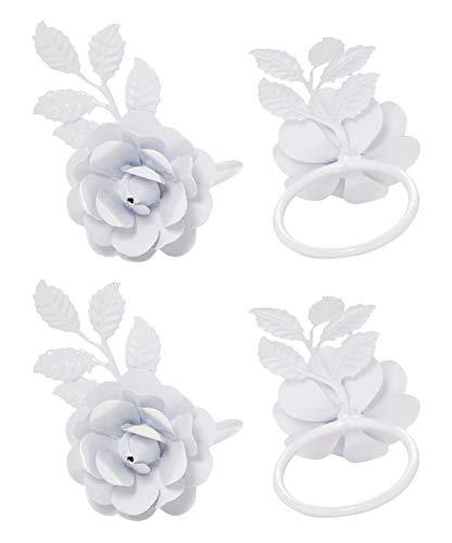 Vibhsa Flower Napkin Rings Set of 4 (White Rose)