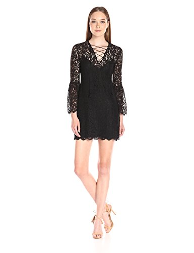 31Fkums2wpL Lace dress with illusion neck featuring three-quarter bell sleeves and lace-up V-neckline Scalloped hemline