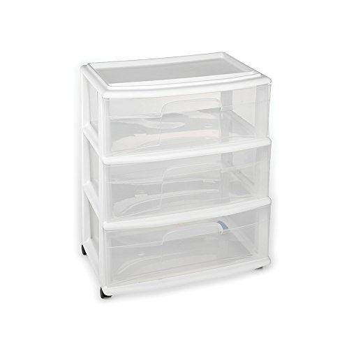 HOMZ Plastic 3 Drawer Wide Cart, White Frame, Clear Drawers, 4 Casters Included, Set of 1