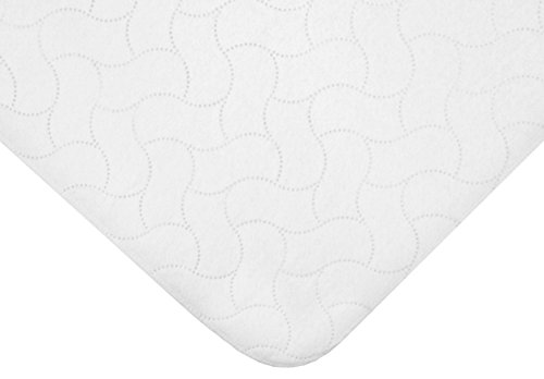 American Baby Company Waterproof Embossed Quilt-Like Flat Crib Protective Mattress Pad Cover, White