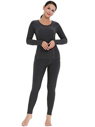 Amorbella Women's Long Underwear Ultra Soft Thermal Wear Fleece Lined Long Johns (Dark Gray, Medium)