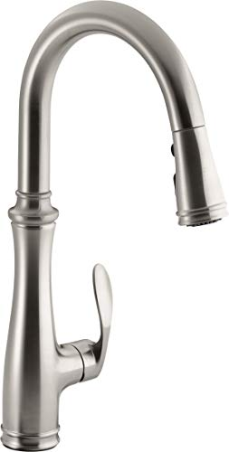 Kohler K-560-VS Bellera Pull-Down Kitchen Faucet, Vibrant Stainless Steel, Single-Hole or Three-Hole Install, Single Handle, 3-function Spray Head, Sweep Spray and Docking Spray Head Technology