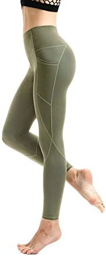 AFITNE Women's High Waist Yoga Pants with Pockets, Tummy Control Workout Running 4 Way Stretch Yoga Leggings 2