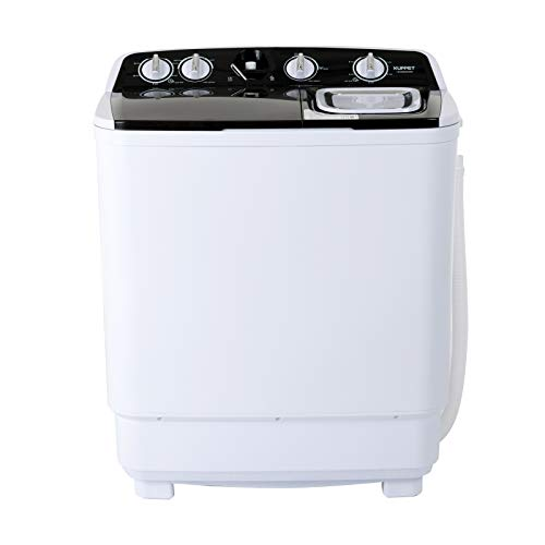 KUPPET Compact Twin Tub Portable Mini Washing Machine 21lbs Capacity, Washer(13lbs)&Spiner(8lbs)/Semi-Automatic (black)