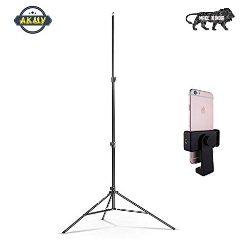 31HXD5MTJiL AKMY 7 Feet Big Big Tripod Stand for Phone and Camera Adjustable Aluminium Alloy Big Tripod Stand Holder,Photo/Video Shoot,TIK Tok/YouTube Videos with Mobile Clip Holder Bracket
