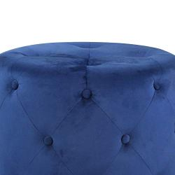 Benjara Fabric Upholstered Tufted Ottoman with Metal Base, Navy Blue