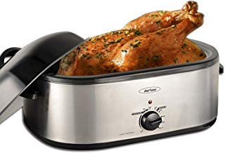 Sunvivi Electric Roaster Oven with Self-Basting Lid, 18-Quart,Removable Insert Pot, Full-range Temperature Control and Cool-Touch Handles, Silver Body and Black Lid