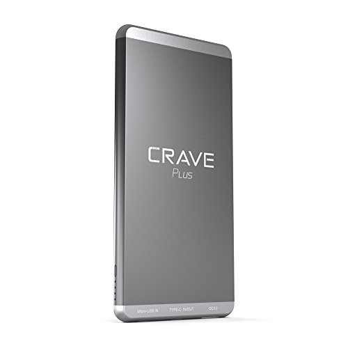 Slim Power Bank, Crave PLUS Aluminum Portable Charger with 10000 mAh [Quick Charge QC 3.0 USB + Type C] External Battery Pack for iPhone, iPad, Samsung and more.