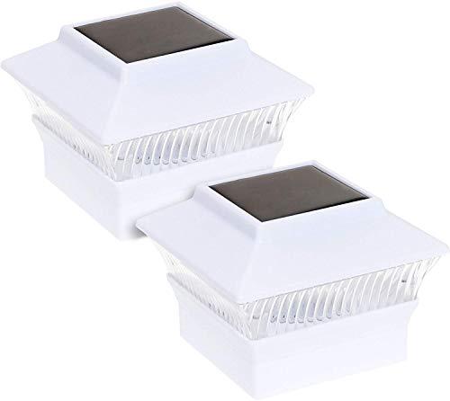 Reusable Revolution Solar Powered LED Post Cap Light for 4 x 4 PVC Posts (White, 2 Pack)