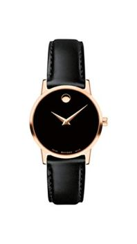 Movado Women's Museum Rose Gold Watch with a Concave Dot Museum Dial, Gold/Black Strap (607276)