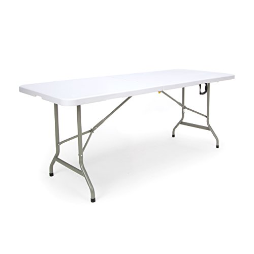 Essentials Center Folding Multipurpose Utility Table - Sturdy Card/Conference/Office/Craft Plastic Table, 30' x 72', White