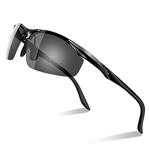 Men's Polarized Sunglasses for Men Driving Cycling Running Fishing Golf Unbreakable Metal Frame Al-Mg Glasses (BLACK)