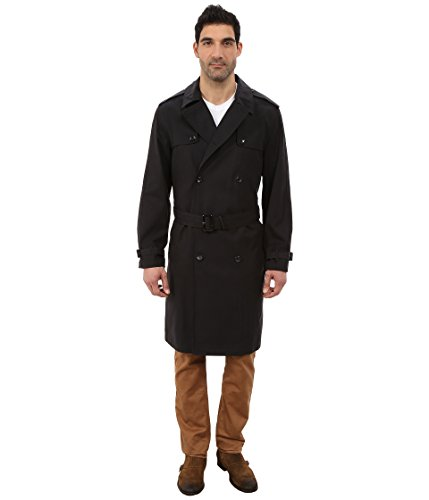 London Fog Men's Plymouth Double Breasted Trench Coat, Black (42R)