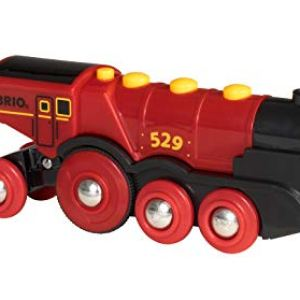 Brio World 33592 Mighty Red Action Locomotive | Battery Operated Toy Train with Light and Sound Effects for Kids Age 3 and Up 31JNyHHk34L