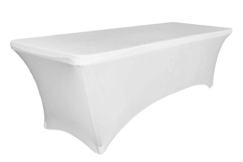 6 ft White Rectangular Linen Tablecloth - Spandex Fitted Table Cover for DJ Table Covers, Wedding Tablecloths, Rectangle Massage Table Cloths, Kitchen Table - Stretch Rectangular Tablecloth