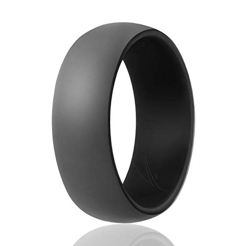 ROQ Silicone Wedding Ring for Men - Duo Collection Lines Style - 3 Pack Silicone Rubber Wedding Bands - Classic Design - Blue-Black, Orange-Grey, Red-Black Colors - Size 11