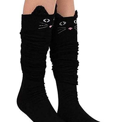 "Womens Knee High Socks, womens socks, PXH  Ladies Cat Catoon Cute Novelty Long Socks Over Knee High Sock. Black 58cm/22.83"""