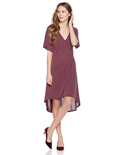 31KfzDdtd%2BL An Amazon brand Midi-length dress featuring V-neckline and empire waist with pleated details High/low hem, kimono sleeves