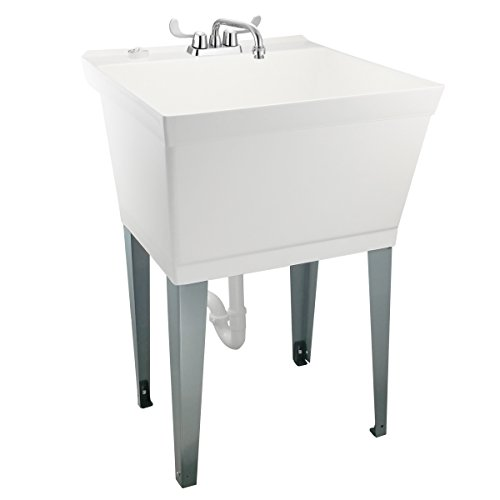 Nearly Indestructible Laundry Utility Tub by MAYA - Heavy Duty 19 Gallon Sink With Easy On Blade Handle Faucet, Metal Legs With Levelers, Complete Installation Kit Includes Supply Lines, Drain Ptrap