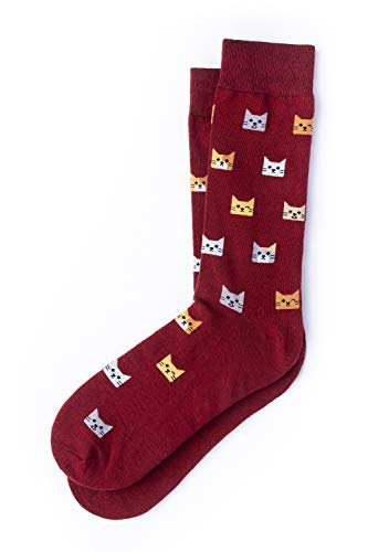 Mens-Kitty-Cat-Socks-Novelty-Crew-Carded-Cotton-Kitten-Hipster-Socks-1-Pair-3-Colors-Available