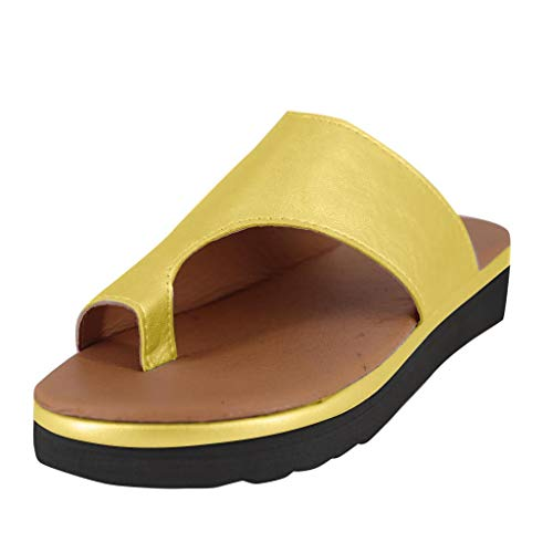 Platform Sandals for Women- 2019 New Comfort Flip Flops Wedge Shoes Flats Beach Casual Slippers (Yellow, EU:36/US:5.5)