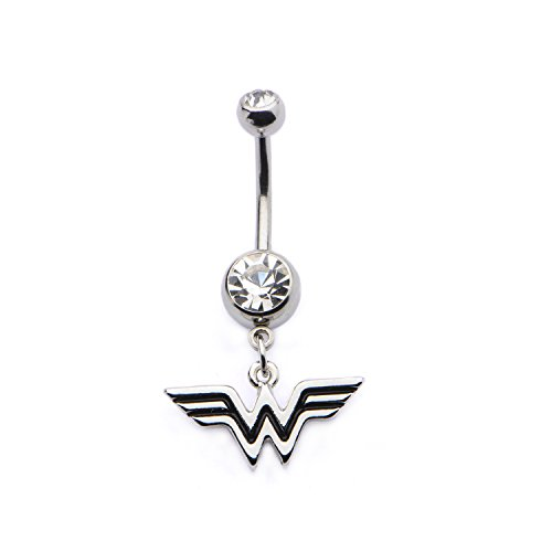 DC Comics Wonder Woman Logo with Clear Gem Belly Button