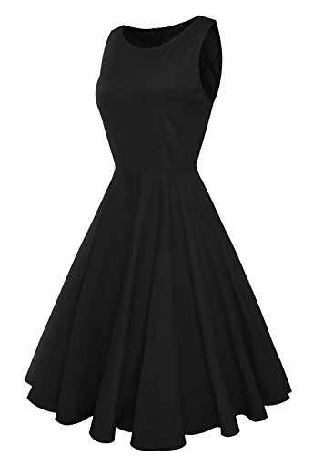31Lq76bqyKL Classic and Iconic Audrey Hepburn 50s Vintage Solid Color Swing Dress, Put on and Show Your Elegance and Charm. Features: Boat Neckline; Sleeveless; Full Circle Swing; Quick Access Zipper for Easy On and Off It's Great Choice for Daily Casual, Wedding , Ball, Party, Banquet and Other Occasion.