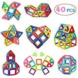 Manve Magnetic Tiles Building Blocks Toys, 40 Pcs Preschool Kids Educational Construction Toys Sets
