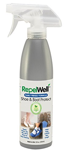 Repel Well Shoe & Boot Protect Stain & Water Repellent (12oz) Eco-friendly, Pet-Safe Spray Keeps Your Fabric, Leather & Suede Footwear Clean, Dry and Looking New, Longer